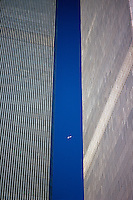 NYC, NY, World Trade Center, Airplane Between the Twin Towers, designed by Minoru Yamasaki, International Style II