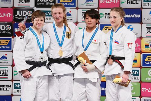 (L-R) Tina Trstenjak (SLO), Martyna Trajdos (GER), Miku Tashiro (JPN), Ekaterina Valkove (RUS), DECEMBER 5, 2015 - Judo : IJF Grand Slam Tokyo 2015 International Judo Tournament Women's -63kg Award Ceremony at Tokyo Metropolitan Gymnasium, Tokyo, Japan. (Photo by Sho Tamura/AFLO SPORT)