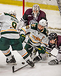 18 December 2016: University of Vermont Catamount Forward and Team Captain Brendan Bradley (20), a Senior from Warminster, PA, scrambles in front of the net during third period action against the Union College Dutchmen at Gutterson Fieldhouse in Burlington, Vermont. The Catamounts fell to their former ECAC hockey rivals 2-1, as the Dutchmen sweep the two-game weekend series. Mandatory Credit: Ed Wolfstein Photo *** RAW (NEF) Image File Available ***