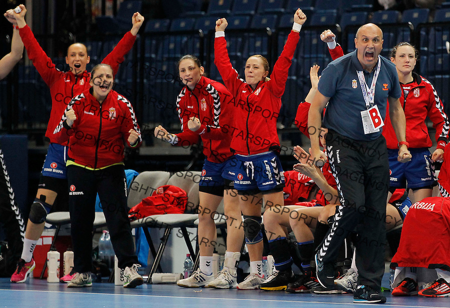 BELGRADE, SERBIA - DECEMBER 16: Head coach Sasa Boskovic (R) reacts during the 2013 World Women's Handball Championship 2013 match between South Korea v Serbia at Kombank Arena Hall on December 16, 2013 in Belgrade, Serbia. (Photo by Srdjan Stevanovic/Getty Images)