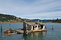 Shipwrecked boat Mary D. Hume at the mouth of the Rogue River in Gold Beach; southern Oregon coast.