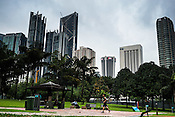 A jogger seen running at the KLCC jogging track in Kuala Lumpur, Malaysia.
