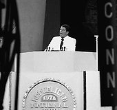 Governor Ronald Reagan of California speaks to the 1972 Republican National Convention in Miami, Florida, on its opening night, August 22, 1972..