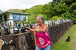 A local woman with her sea glass collection on the island of Molokai, Hawaii, USA