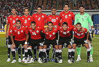 Egypt's from left to right, back row, Mohamed Talaat (9), Hesham Mohamed (3), Salah Soliman (2), Hussam Arafat (20), Ahmed Hegazy (6), Aly Lotfi (1), front row, Shehab Ahmed (8), Hosam Hassan (14), Aly Mohamed (7), Islam Ramadan (12), Ahmed Shoukri (10),  stand for a photo on the field before the match against Costa Rica during the FIFA Under 20 World Cup Round of 16 match at the Cairo International Stadium on October 06, 2009 in Cairo, Egypt. .     ... ... ......