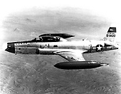 The two-place T-33 jet was designed for training pilots already qualified to fly propeller-driven aircraft. In addition to its use as a trainer, the T-33 has been used for such tasks as drone director and target towing, and in some countries even as a combat aircraft. .Credit: U.S. Air Force via CNP