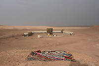 Morocco - Ouarzazate - Remains of a film set reproducing the Great Mosque of Mecca. The set, which is in the middle of the desert on the outskirts of Ouarzazate, was used for the shooting of Journey to Mecca, a 2009 movie on the famous Muslim scholar and traveler Ibn Battuta.