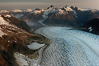 LeConte Glacier is in the Stikine Icefield, one of the few remnants of the once-vast ice sheets that covered much of North America during the Pleistocene age. It covers 2,900 square miles along the crest of the Coastal Mountains that separate Canada and the U.S., extending 120 miles from the Whiting River to the Stikine River.<br />