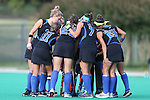 26 September 2014: Duke's starters huddle before the game. The Duke University Blue Devils hosted the University of California Bears at Jack Katz Stadium in Durham, North Carolina in a 2014 NCAA Division I Field Hockey match. Duke won the game 2-0.