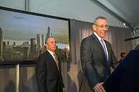 New York Mayor Michael Bloomberg, left, and Related Companies Chairman Stephen M. Ross, right at the groundbreaking ceremony for the long anticipated and controversial Hudson Yards project on the West Side of Manhattan in New York on Tuesday, December 4, 2012. The Hudson Yards, built over the LIRR yards, represents the largest real estate development in New York since Rockefeller Center. When finished the 26 acre site will have over 13 million square feet of commercial, residential and retail space. (© Frances M. Roberts)