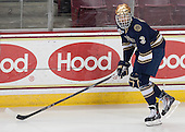 Shayne Taker (ND - 3) is announced as a starter for the Irish. - The visiting University of Notre Dame Fighting Irish defeated the Boston College Eagles 7-2 on Friday, March 14, 2014, in the first game of their Hockey East quarterfinals matchup at Kelley Rink in Conte Forum in Chestnut Hill, Massachusetts.