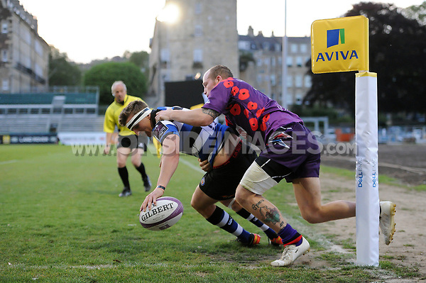 Darren Atkins of Bath United scores a second half try in the corner. Remembrance Rugby match, between Bath United and the UK Armed Forces on May 10, 2017 at the Recreation Ground in Bath, England. Photo by: Patrick Khachfe / Onside Images