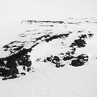 A snow covered landscape in East Greenland.