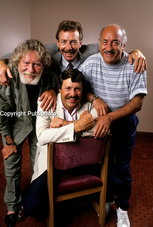 EXCLUSIVE PHOTO - Le Festival de l'humour with  Roger Joubert, Pierre Labelle, Michel Forget et Louis-Paul Allard at CKAC 73 Am.<br /> <br /> <br />  circa 1987.