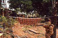 Sausages hanging to cure. In a tropical climate the sun can be tamed for practical uses.