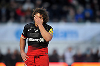 Jacques Burger of Saracens looks dejected during a break in play. Aviva Premiership match, between Saracens and Bath Rugby on January 30, 2016 at Allianz Park in London, England. Photo by: Patrick Khachfe / Onside Images