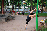 Early morning exercising, aerobics and dancing in the Park in Central Hanoi, the capital of Vietnam,