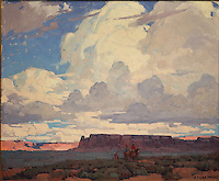 Desert clouds, painting, after 1930, oil on canvas, by Edgar Alwin Payne, 1881-1947, American artist, from the Roath Collection of Denver Art Museum, Denver, Colorado, USA. The painting depicts and American landscape with tabletop mountains and Native Americans approaching on horseback under a huge cloudscape. Picture by Manuel Cohen
