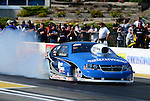 May 18, 2012; Topeka, KS, USA: NHRA pro stock driver Chris McGaha during qualifying for the Summer Nationals at Heartland Park Topeka. Mandatory Credit: Mark J. Rebilas-