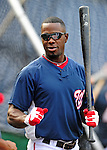28 September 2010: Washington Nationals' outfielder Roger Bernadina awaits his turn in the batting cage prior to a game against the Philadelphia Phillies at Nationals Park in Washington, DC. The Nationals defeated the Phillies 2-1 on an Adam Dunn walk-off solo homer in the 9th inning to even up their 3-game series one game apiece. Mandatory Credit: Ed Wolfstein Photo