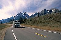 Grand Teton National Park, Wyoming, WY, USA - Teton Park Road and the Teton Range Mountains, Summer