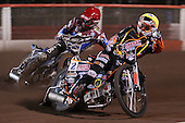 Heat 1: Ty Proctor (yellow) and Krzysztof Kasprzak (red) - Lakeside Hammers vs Wolverhampton Wolves, Elite Shield Speedway at the Arena Essex Raceway, Purfleet - 26/03/10 - MANDATORY CREDIT: Rob Newell/TGSPHOTO - Self billing applies where appropriate - 0845 094 6026 - contact@tgsphoto.co.uk - NO UNPAID USE.