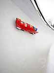 15 December 2007: Italy 2 pilot Fabrizio Tosini with brakeman Danilo Santarsiero enter turn 17 during their second run at the FIBT World Cup Bobsled Competition at the Olympic Sports Complex on Mount Van Hoevenberg, at Lake Placid, New York, USA. ..Mandatory Photo Credit: Ed Wolfstein Photo