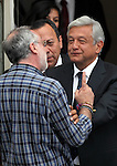 Mexican poet and activist Javier Sicilia welcomes  Democratic Revolution Party (PRD) Andres Manuel Lopez Obrador during the dialogue with members of the National Movement for Peace with Justice and Dignity (MPJD) in the Alcazar del Castillo de Chapultepec venue in Mexico City, May 28. 2012. Sicilia and the mothers of disappeared people demanded peace to Mexico and the punishment of the authorities linked to the organized crime in Mexico. Photo by Heriberto Rodriguez