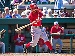 14 March 2014: Washington Nationals infielder Jeff Kobernus at bat during a Spring Training game against the Detroit Tigers at Joker Marchant Stadium in Lakeland, Florida. The Tigers defeated the Nationals 12-6 in Grapefruit League play. Mandatory Credit: Ed Wolfstein Photo *** RAW (NEF) Image File Available ***