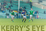 Jack Savage Kerry in action against Iain Corbett and Paul Hannan Limerick in the Final of the McGrath Cup at the Gaelic Grounds on Sunday.