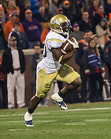 The eighth ranked Clemson Tigers defeat the Georgia Tech Yellow Jackets at Death Valley 55-31 in an ACC matchup.  Georgia Tech Yellow Jackets running back David Sims (20)