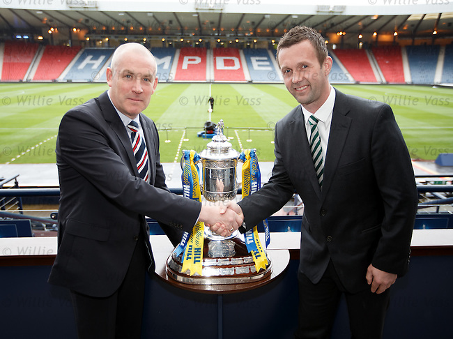 Mark Warburton and Ronny Deila at Hampden with the Scottish Cup