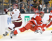 Bill Arnold (BC - 24), Sean Escobedo (BU - 21) - The Boston College Eagles defeated the Boston University Terriers 3-2 (OT) in their Beanpot opener on Monday, February 7, 2011, at TD Garden in Boston, Massachusetts.
