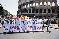 Roma 27 Giugno 2012.Manifestazione  dei sindacati di base  contro la riforma del lavoro e il ministro Fornero.