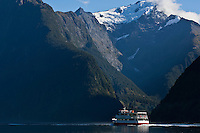 Tourist cruise boat on Milford Sound, New Zealand