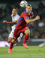 PRAGUE, Czech Republic - September 3, 2014: USA's Timmy Chandler and Pavel Kaderabek of the Czech Republic during the international friendly match between the Czech Republic and the USA at Generali Arena.