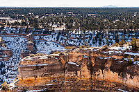 United States, Arizona, Grand Canyon. Trailview Overlook, the first lookout along the West Rim Drive with a view of Bright Angel Trail and Grand Canyon Village.