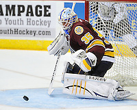 Chicago Wolves goaltender Jake Allen makes a save during the second period of an AHL hockey game against the San Antonio Rampage, Friday, Oct. 4, 2013, in San Antonio. Chicago won 2-1. (Darren Abate/M3D14.com)