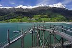 Wooden steps pier/pontoon  Lake Resia, Italian/ Austrian border.