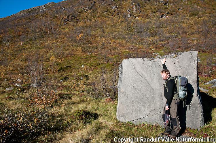 Mann ved steinblokk på Sørøya. ---- Man and rock at Sørøya.