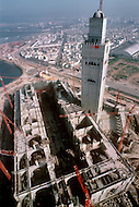 March 10, 1989, Casablanca, Morocco. General view of the construction of Hassan II Mosque. The mosque was completed in 1993.
