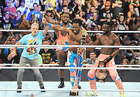 "NEW YORK, NY - August 21 : Jon Stewart was a special guest at WWE SummerSlam 2016 at the Barclays Center and joined ""New Day"" members Kofi Kingston, Big E and Xavier Woods in the ring on August 21 , 2016 at the Barclays Center in Brooklyn, New York.  Photo Credit: John Palmer/ MediaPunch"