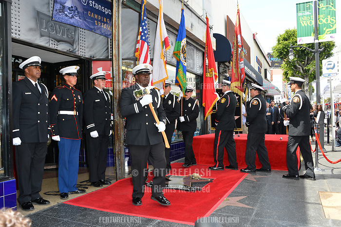 Joint Armed Forces Color Guard at the Hollywood Walk of Fame star ceremony honoring actor Gary Sinise. Los Angeles, USA 17 April  2017<br /> Picture: Paul Smith/Featureflash/SilverHub 0208 004 5359 sales@silverhubmedia.com