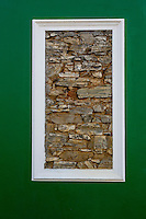 South Africa, Cape Town, Bo-kaap.  Cut-away to reveal original stone construction of house wall.