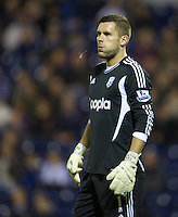 WEST BROMWICH, ENGLAND - Wednesday, September 26, 2012: West Bromwich Albion's goalkeeper Ben Foster looks dejected as his mistake gifts Liverpool an equalising first goal during the Football League Cup 3rd Round match at the Hawthorns. (Pic by David Rawcliffe/Propaganda)