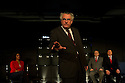 """London, UK. 16/11/2011. """"A Walk On Part"""" opens at the Soho Theatre. The play is based on the diaries of MP Chris Mullin. Picture shows John Hodgkinson as Chris Mullin MP, with Sara Powell, Jim Kitson and Hywel Morgan in the background. Photo credit: Jane Hobson"""