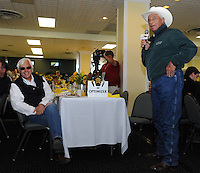 D. Wayne Lukas cracks a joke about Bob Baffert (left) at the Alibi Breakfast at Pimlico Race Course in Baltimore, Maryland  on May 17, 2012 as Bob Baffert