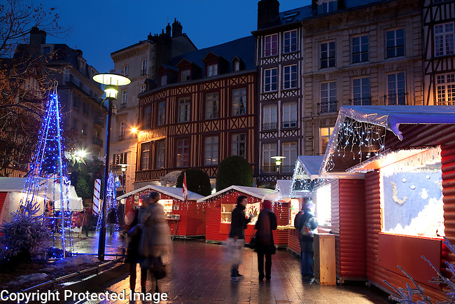 Christmas Fair at Dusk in Pucelle Square in Rouen, Normandy, France