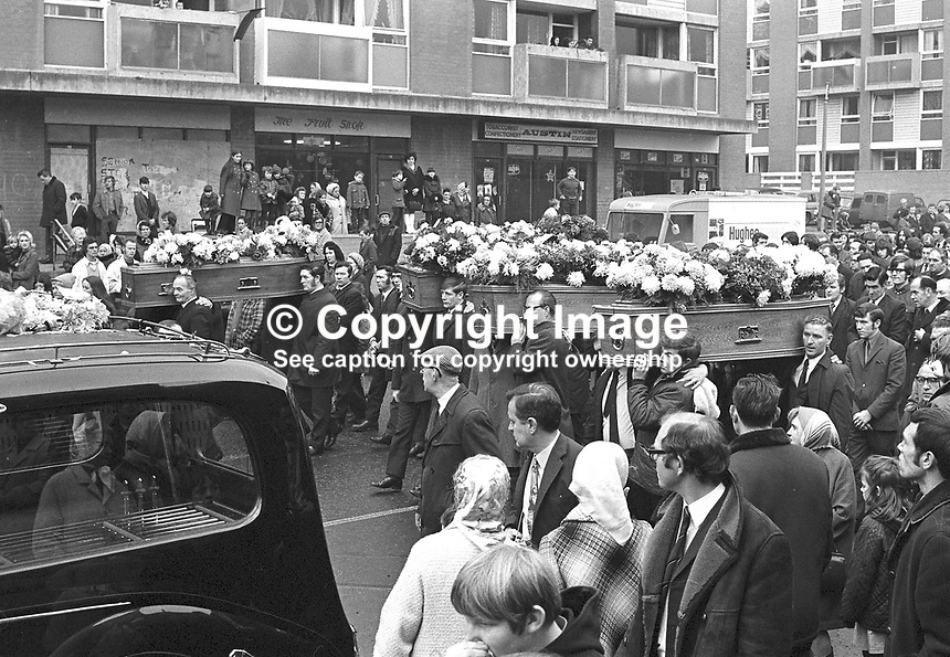 The funeral of victims of the McGurk's Bar explosion. Fifteen died in the blast, including the bar owner's wife and daughter, and 13 were injured. Pic includes a youthful Gerry Fitt. One of the injured subsequently died. NI Troubles. Ref: 19711207001<br /> <br /> Copyright Image from Victor Patterson, 54 Dorchester Park, Belfast, UK, BT9 6RJ<br /> <br /> t: +44 28 90661296<br /> m: +44 7802 353836<br /> vm: +44 20 88167153<br /> e1: victorpatterson@me.com<br /> e2: victorpatterson@gmail.com<br /> <br /> For my Terms and Conditions of Use go to www.victorpatterson.com