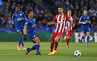Leicester City's Shinji Okazaki and Atletico Madrid's Gabi<br /> <br /> Photographer Stephen White/CameraSport<br /> <br /> UEFA Champions League Quarter Final Second Leg - Leicester City v Atletico Madrid - Tuesday 18th April 2017 - King Power Stadium - Leicester <br />  <br /> World Copyright &copy; 2017 CameraSport. All rights reserved. 43 Linden Ave. Countesthorpe. Leicester. England. LE8 5PG - Tel: +44 (0) 116 277 4147 - admin@camerasport.com - www.camerasport.com